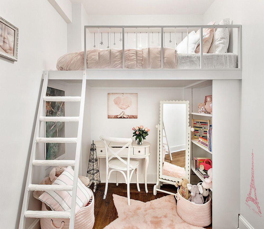 Украсить комнату девочки можно с помощью винтажной мебели, мехового коврика в виде звезды и розовой плетеной корзины