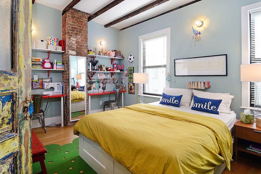 Разноцветный текстиль и аксессуары сделают комнату лофт для подростков яркой и жизнерадостной