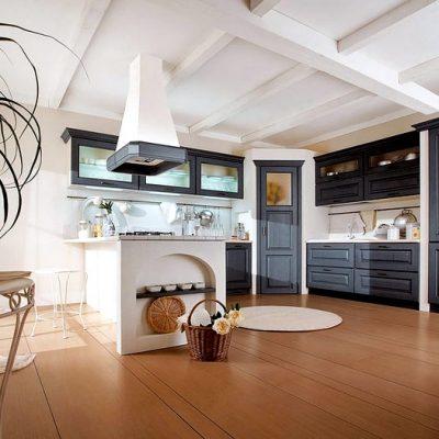 кухонный интерьере в бело-серых тонах