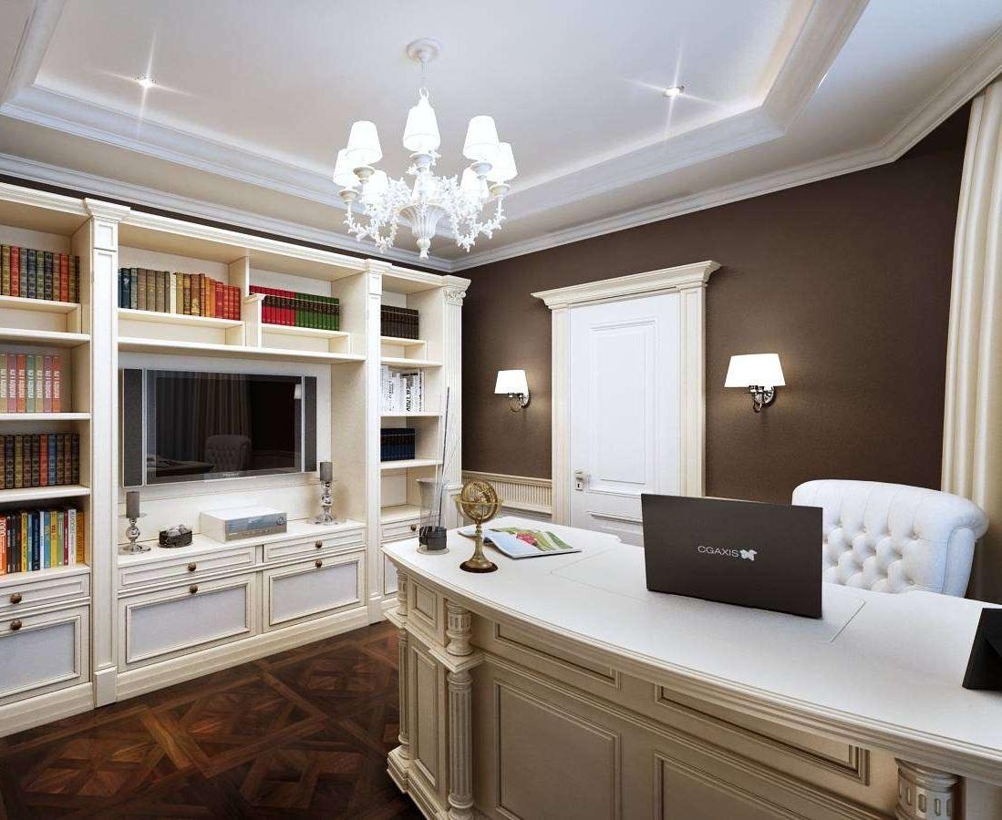 Чтобы визуально увеличить высоту кабинета, потолок стоит оформить в белом цвете