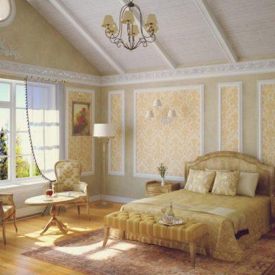 Интерьер спальной комнаты с обоями прованс стиля
