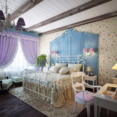 Обои для спальной комнаты в стиле прованс