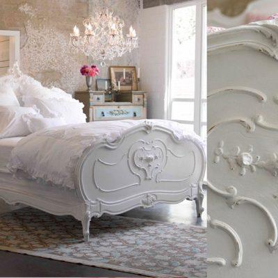 Кровать с узорами шебби стиля