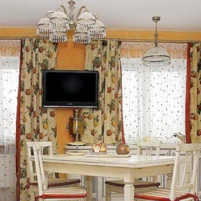 Тюль и шторы на кухне на фото