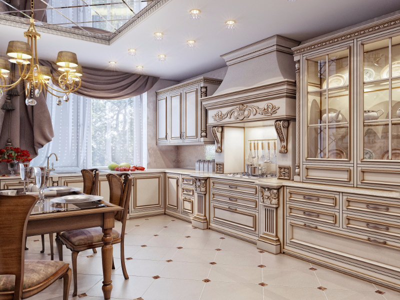 Классика кухни со шторами на фото