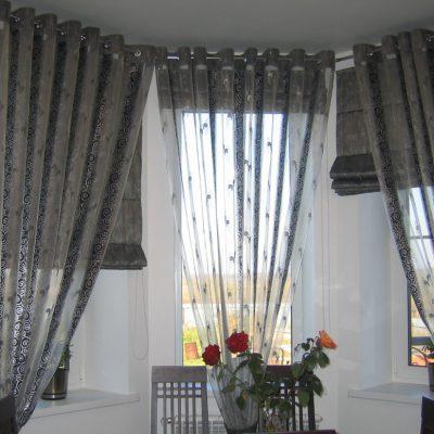 Серые шторы на кухню