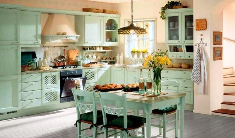 светло-зеленая мебель в интерьере кухни