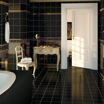 Пример ванной комнаты в черном цвете