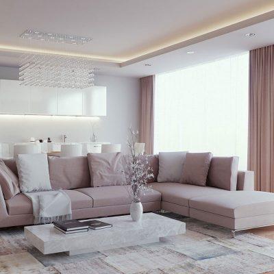 Лёгкий интерьер гостиной в серых тонах