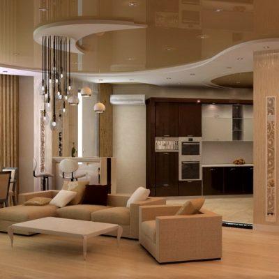 Уютная гостиная в стиле модерн