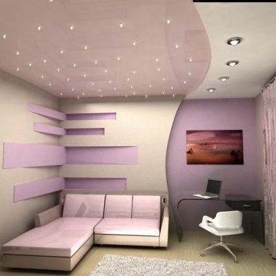 Натяжной потолок лампочками