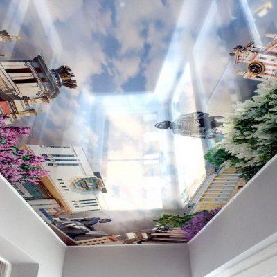 Потолок с рисунком города