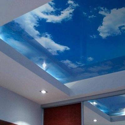 Стеклянный потолок с фотопечатью
