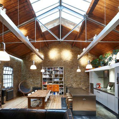 Стиль лофт потолок деревянный
