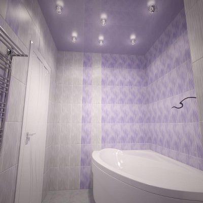 Сиреневый потолок в ванной