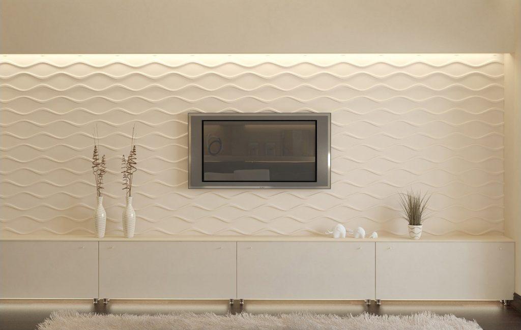 Декоративная отделка стены в зале