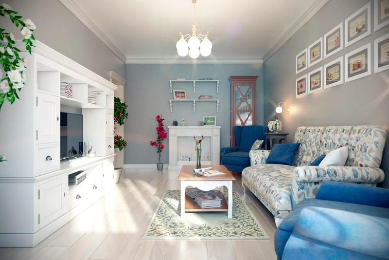 Дизайн гостиной в светло-голубых тонах