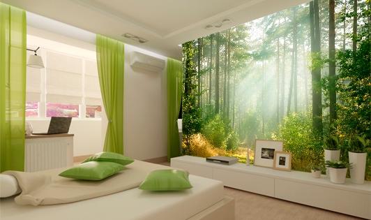 Зелёный цвет в интерьере спальни в сочетании с фотообоями природы