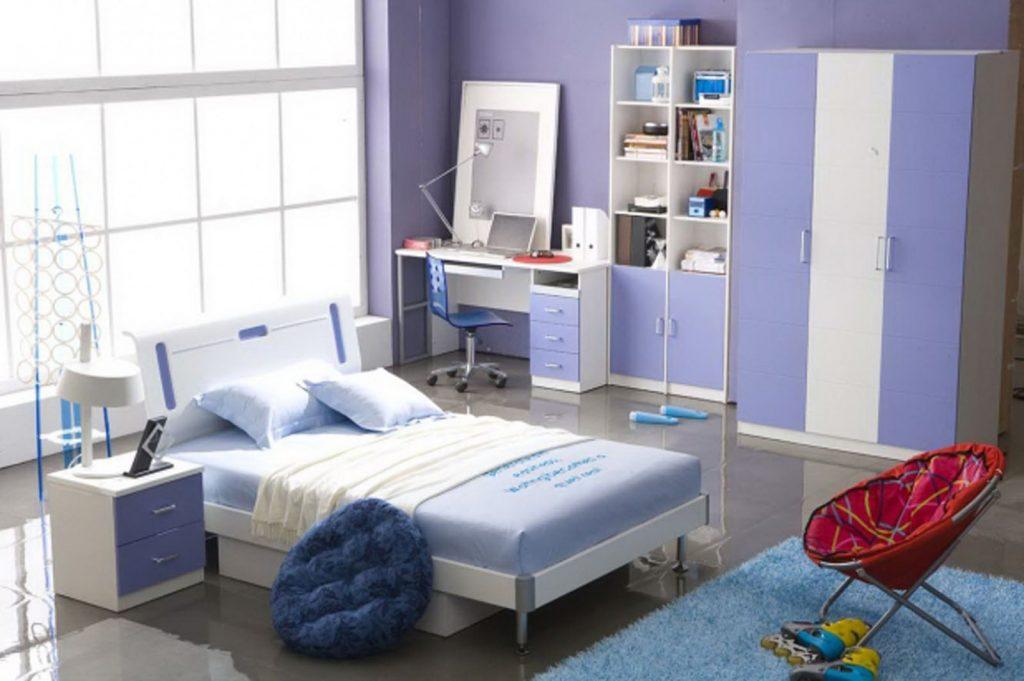 Комната в синих тонах для девочки