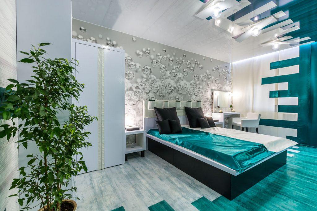 Необычный декор спальни с интересными фотообоями