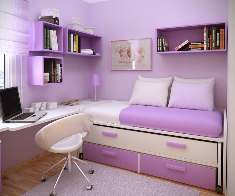 Отличное дизайнерское решение в нежно-фиолетовом цвете для спальни девушки