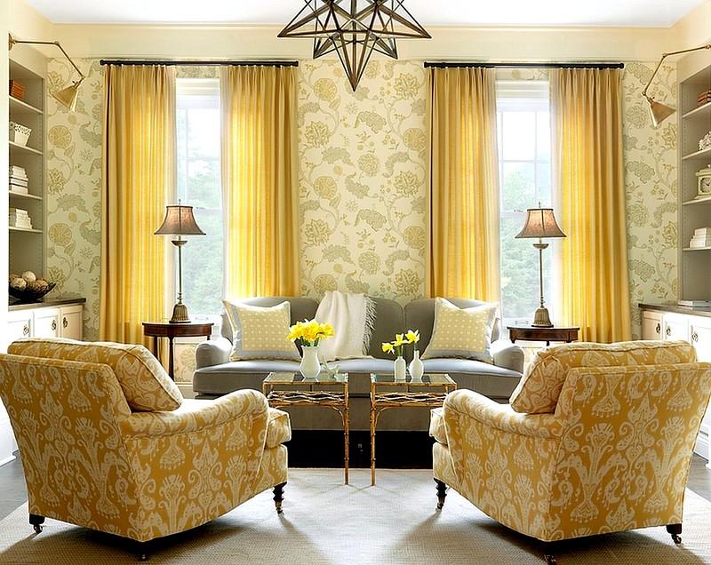Оформление гостиной в золотистом цвете