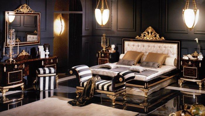 Роскошная спальная комната в темных тонах
