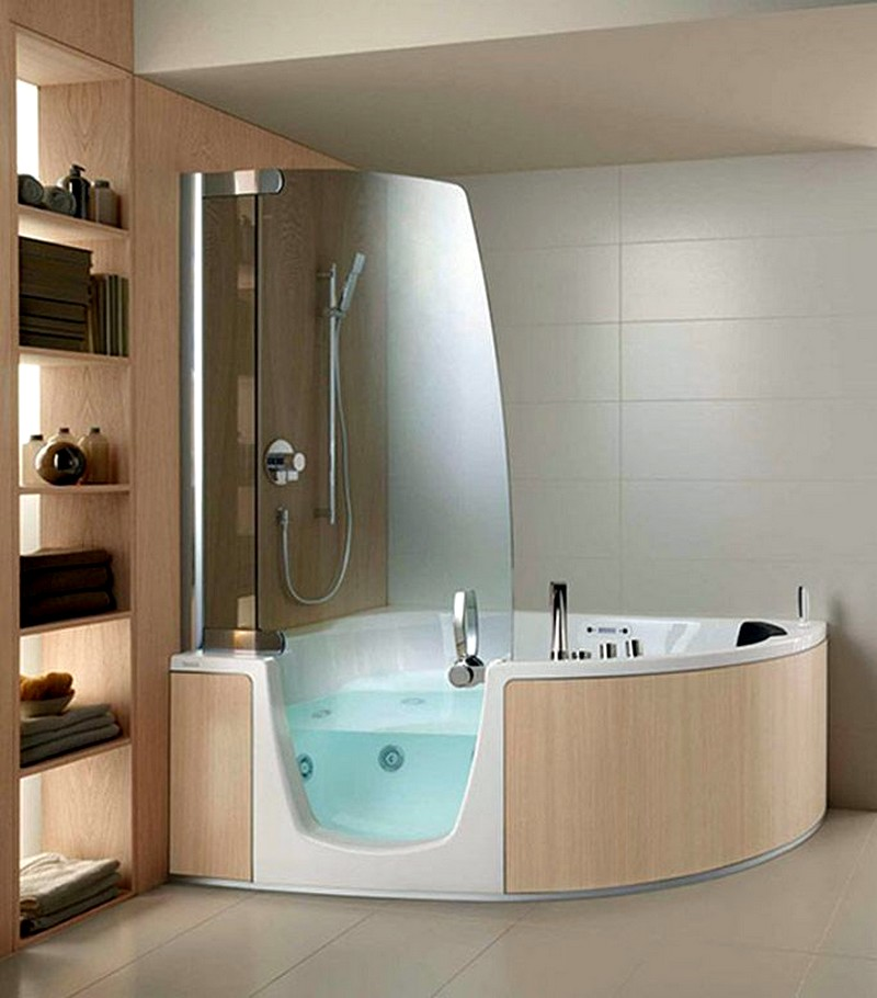 Угловая ванна с душем комбо