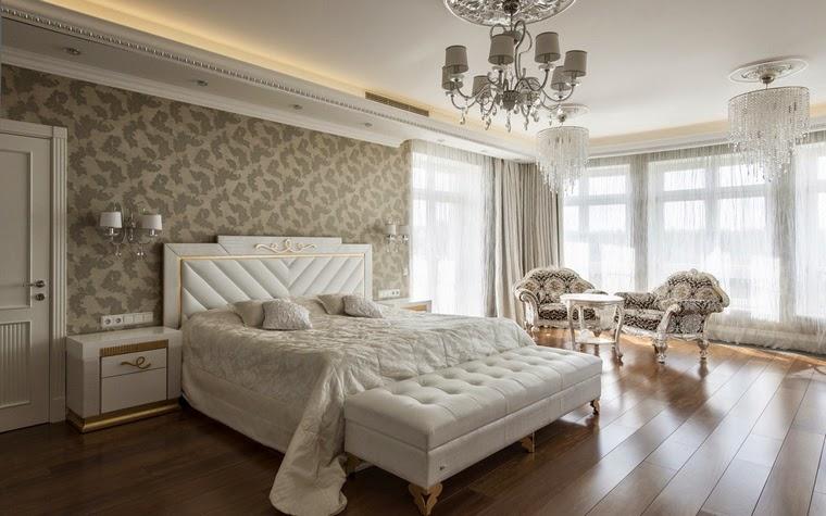 уютная спальня кремового цвета в стиле прованс