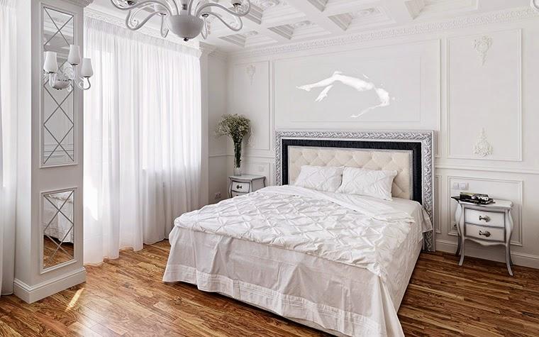 уютная спальня белого цвета в стиле прованс