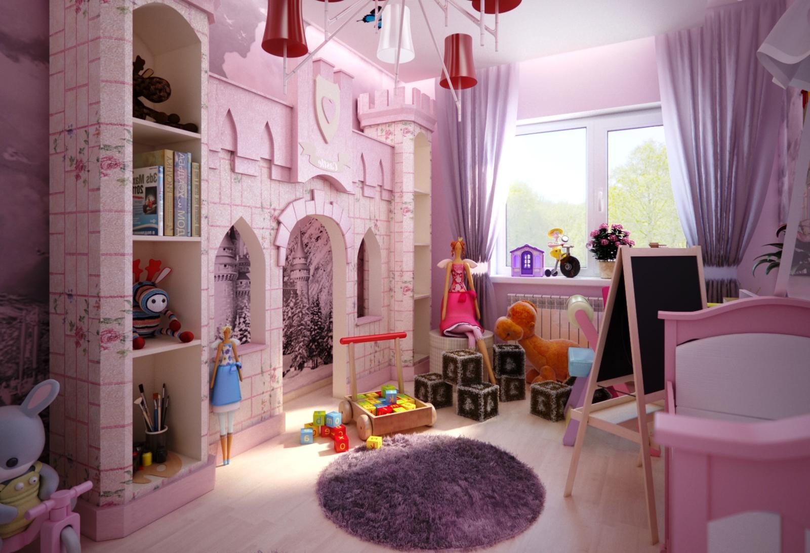 Дизайн комнаты для девочек с замком