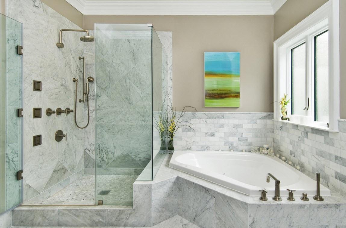 Ванная комната с угловой ванной: как подобрать дизайн
