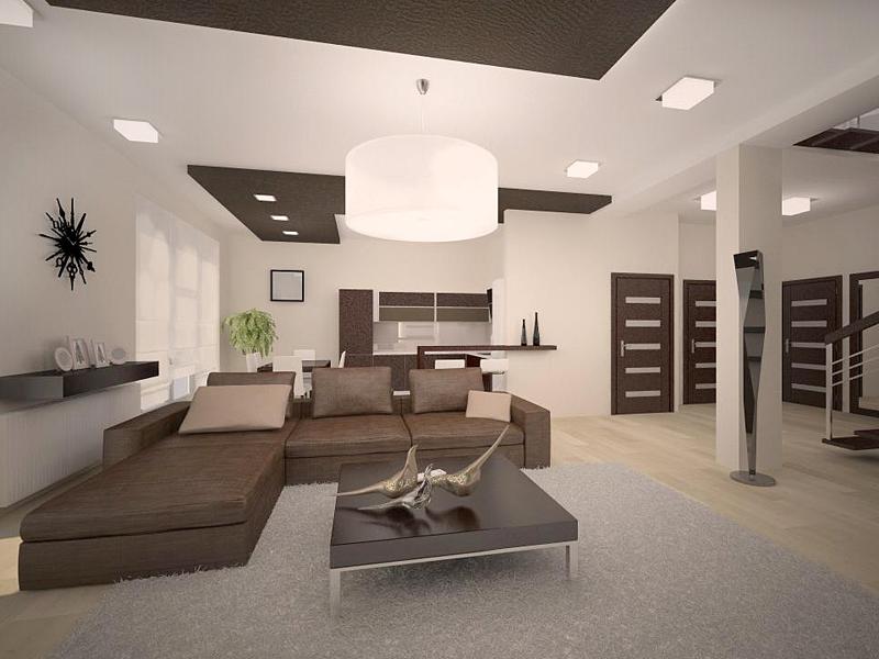 Лаконичный интерьер гостиной в стиле минимализм