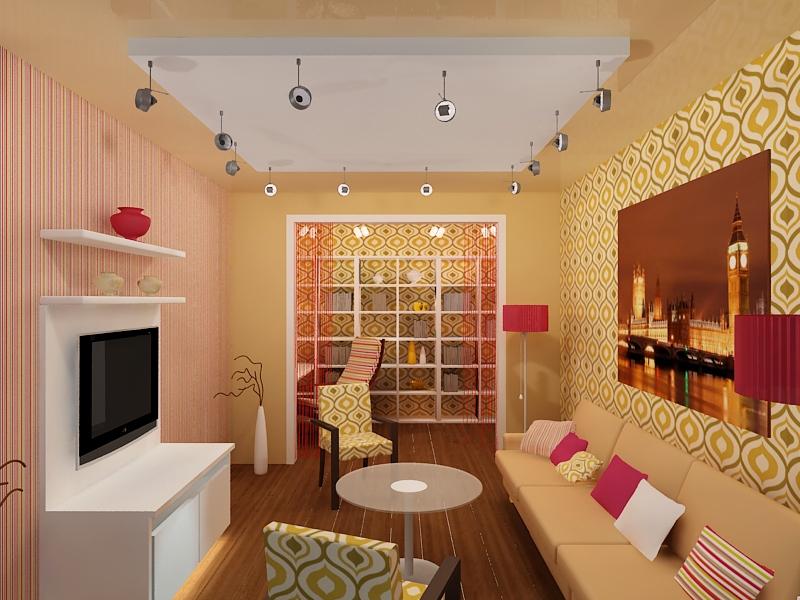 Интерьер гостиной в хрущевке в персиковых тонах
