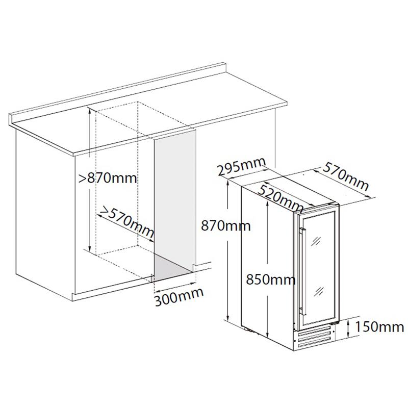 Схема встройки винного шкафа под столешницу