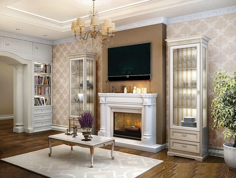 Телевизор рядом с камином в интерьере гостиной