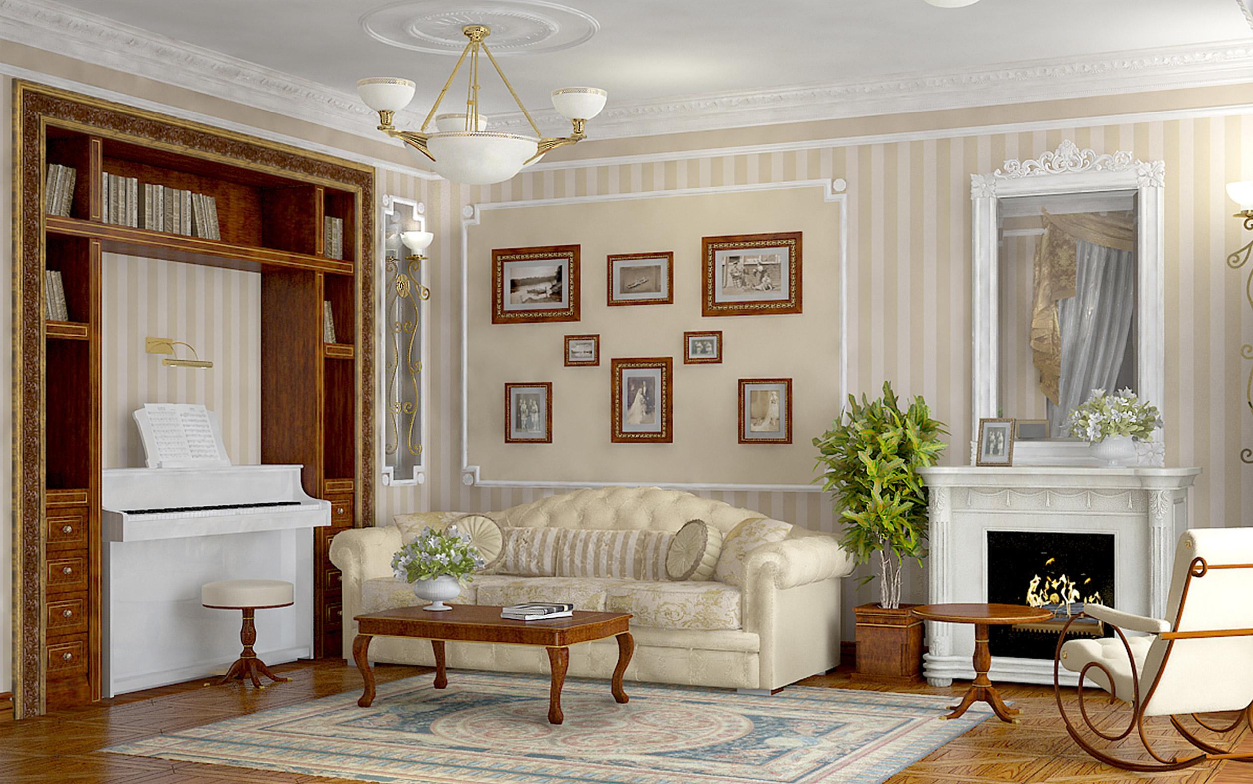 Гостиная комната в английском стиле в светлых тонах