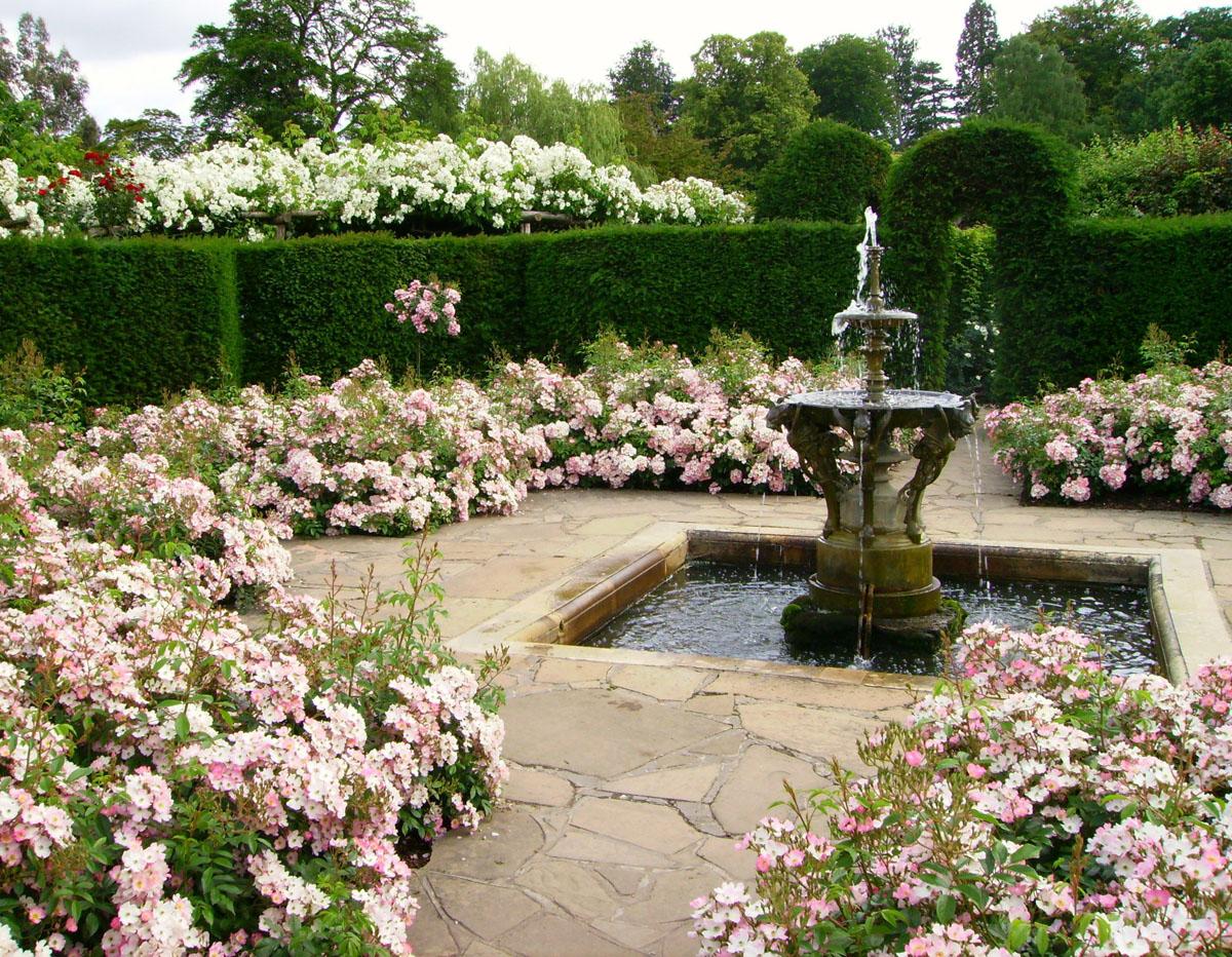 Ландшафтный дизайн участка в английском стиле с фонтаном