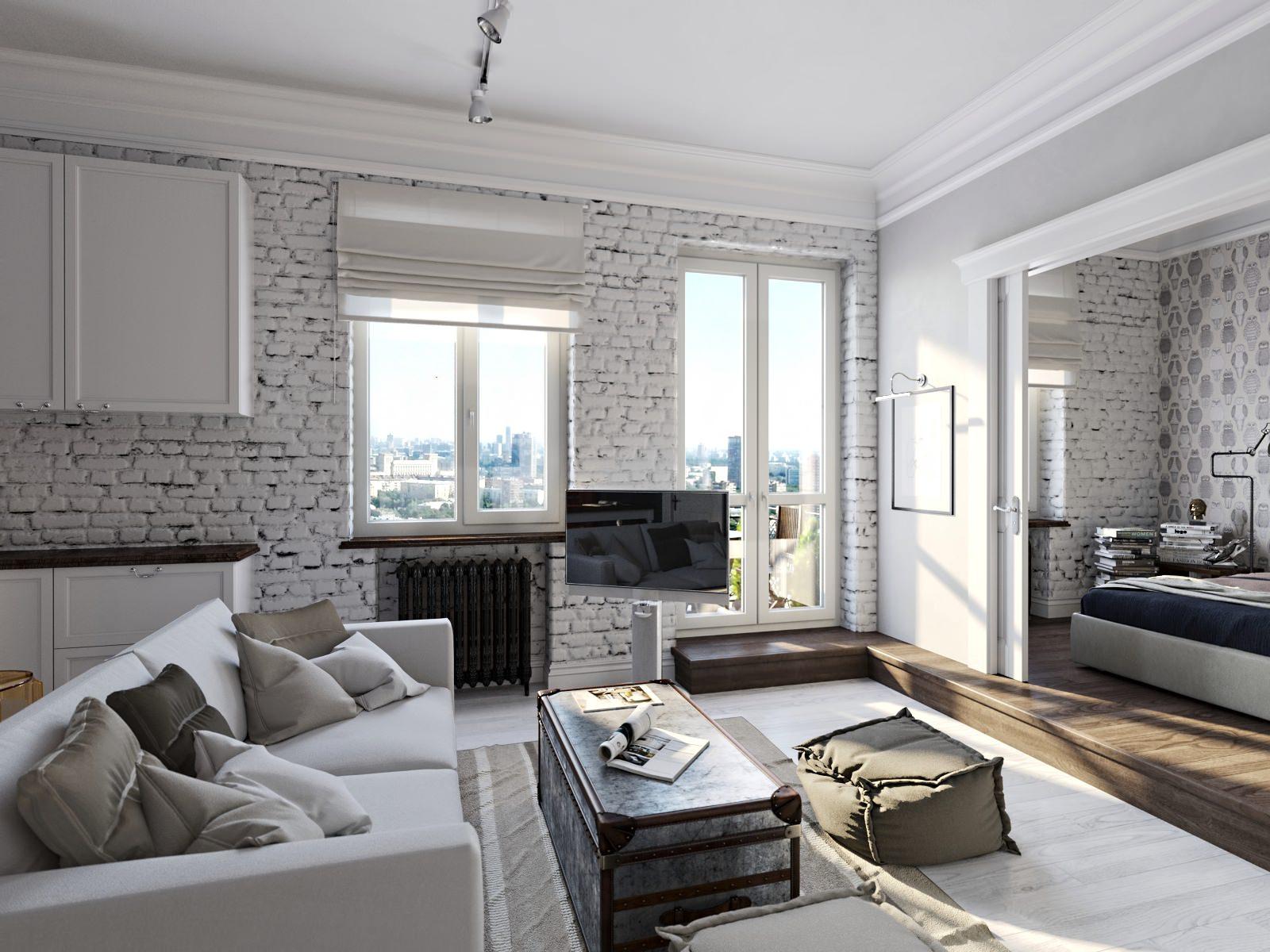Популярный белый кирпич в интерьере гостиной