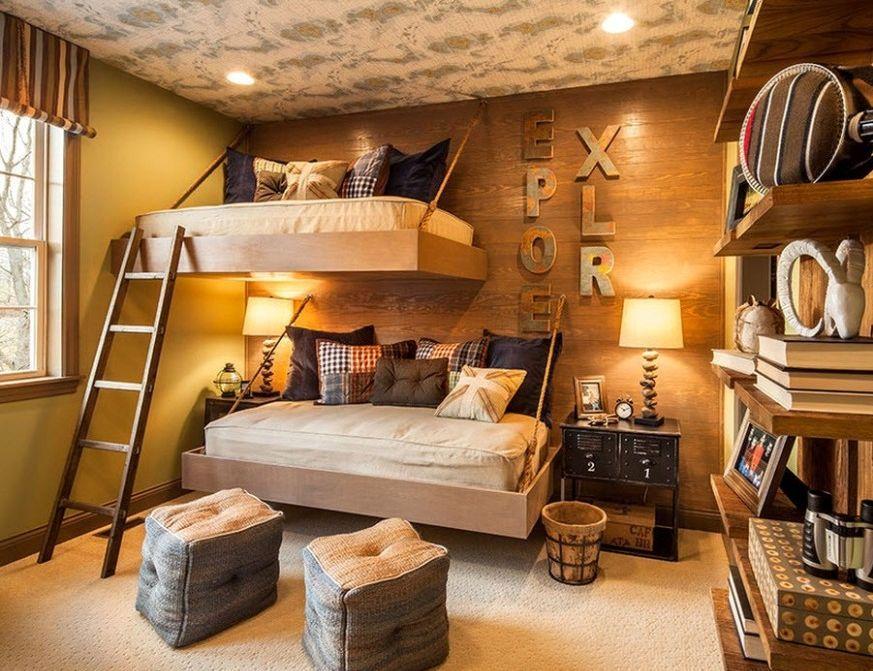 Подвесная кровать в детской комнате