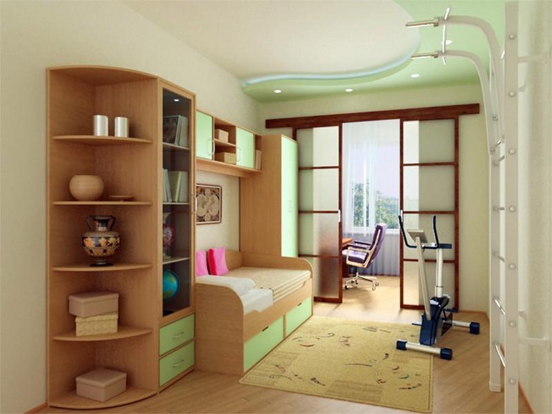 Зонирование комнаты для мальчика с помощью перегородки