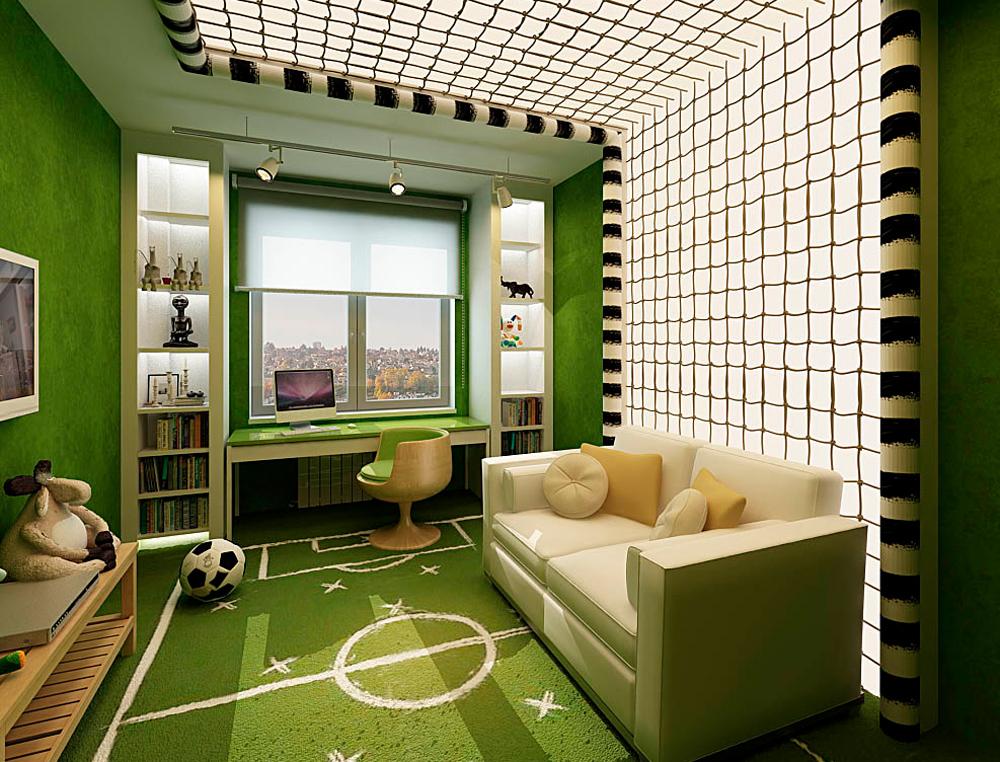 Интерьер детской комнаты для мальчика в виде футбольного поля