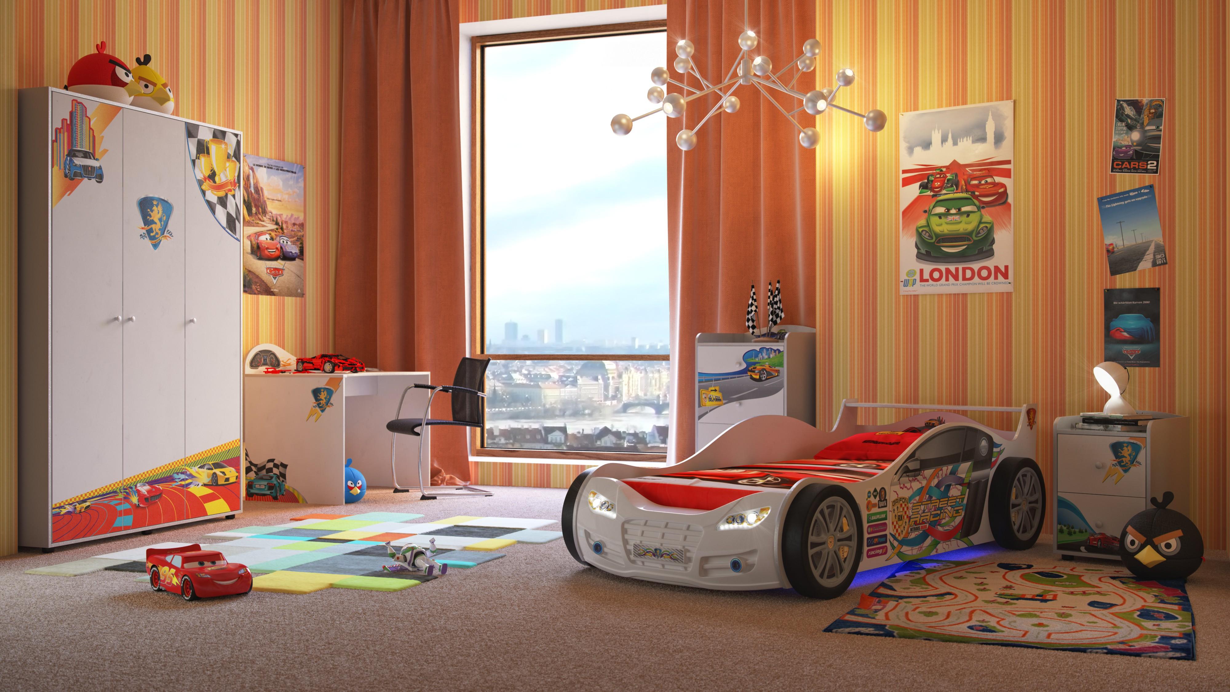 Обои с вертикальными полосами в детской комнате для мальчика