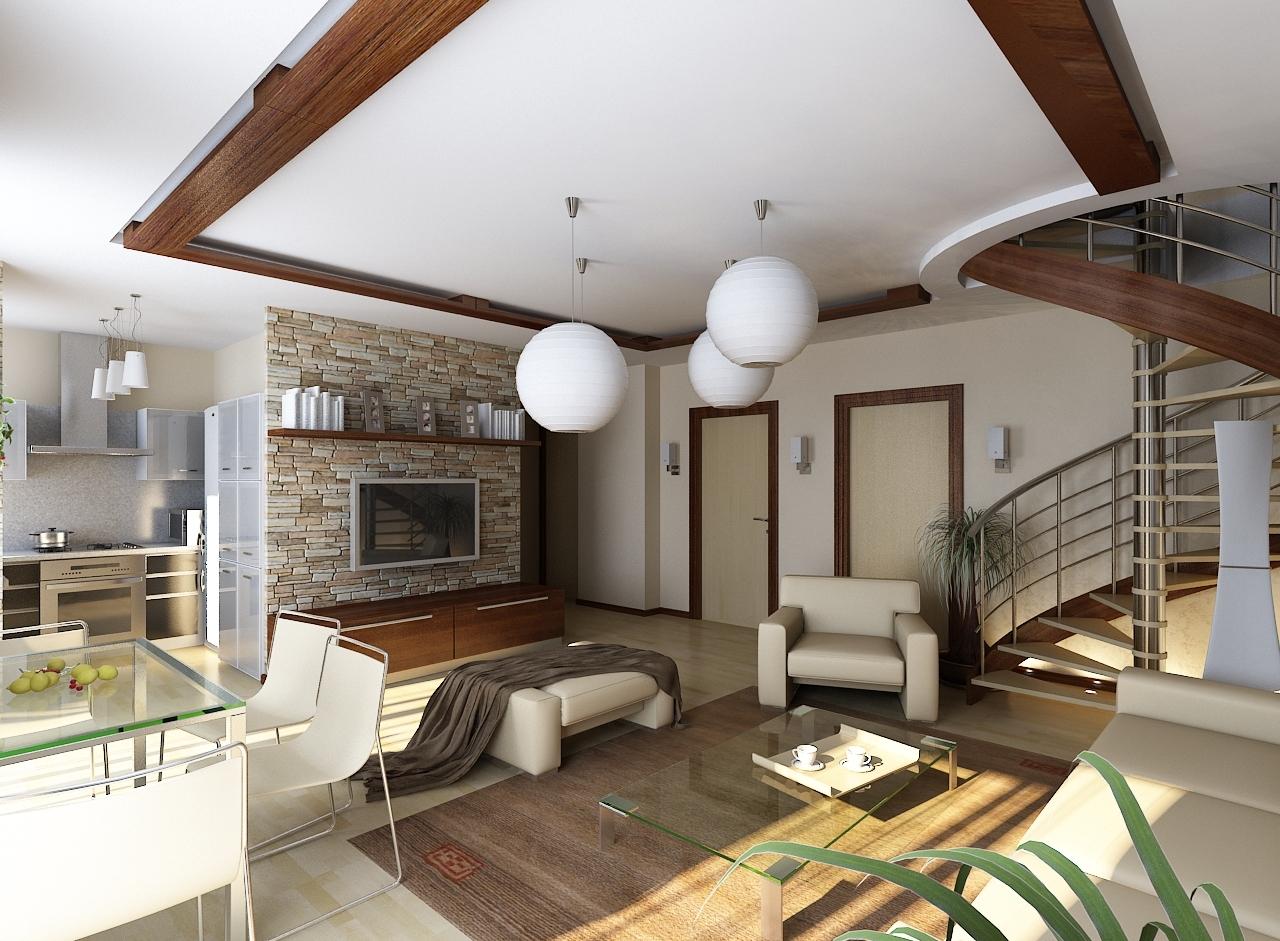 Единый стиль оформления интерьера внутри частного дома