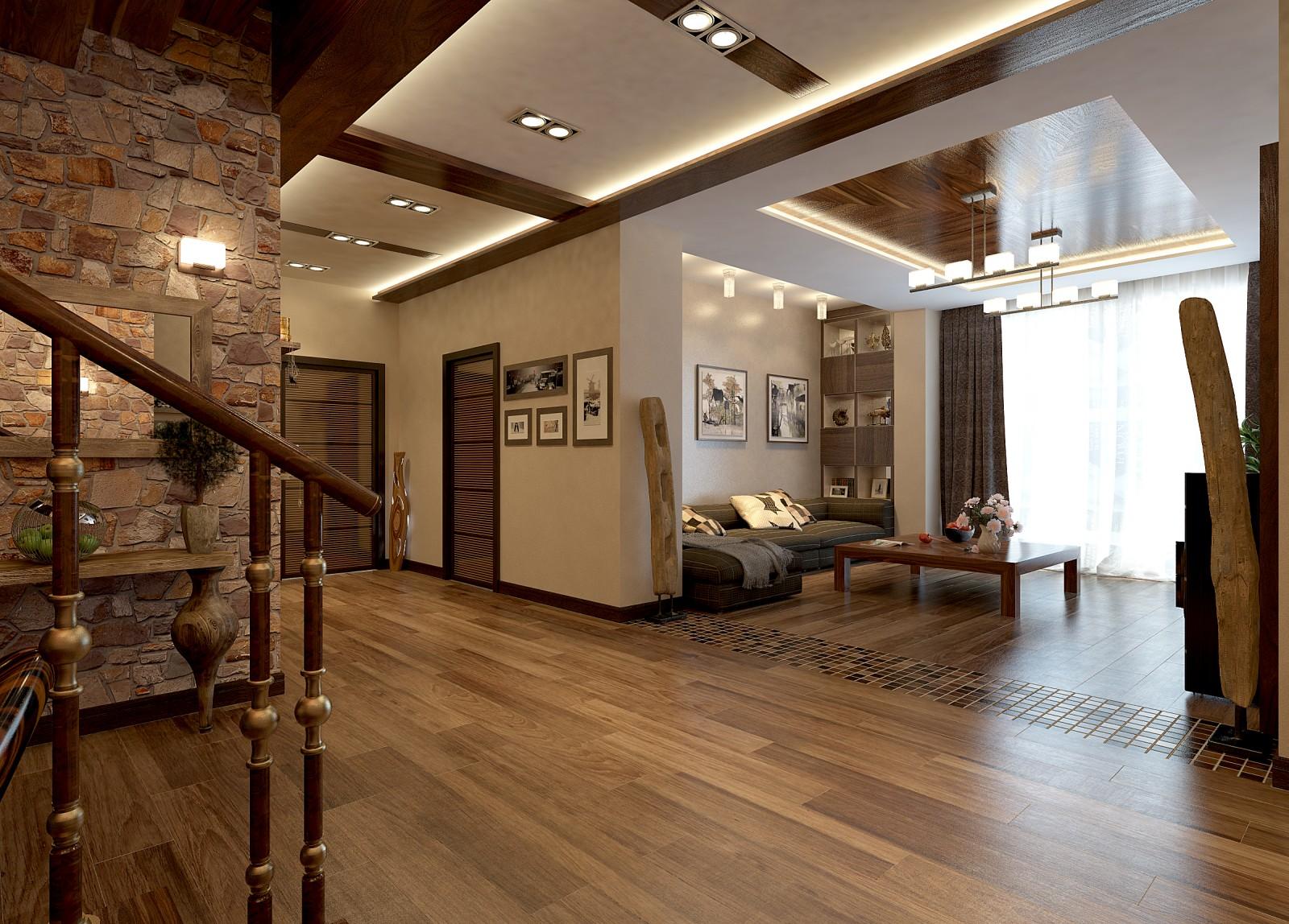 Дизайн интерьера внутри частного дома с элементами декорирования