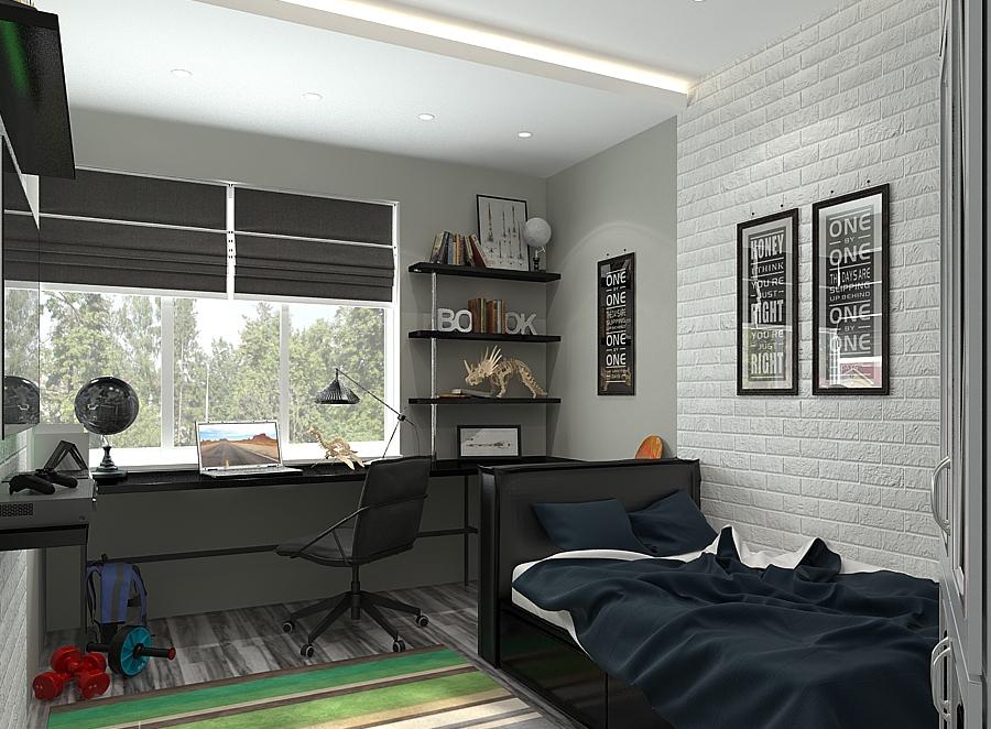 Дизайн детской комнаты для двух мальчиков в черно-белых тонах
