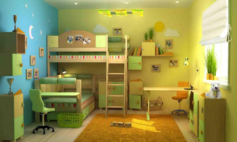 Дизайн детской комнаты для девочек в зеленых тонах