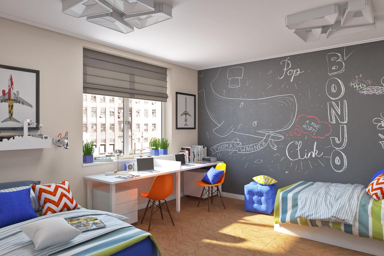 Необычный дизайн детской комнаты для двух мальчиков