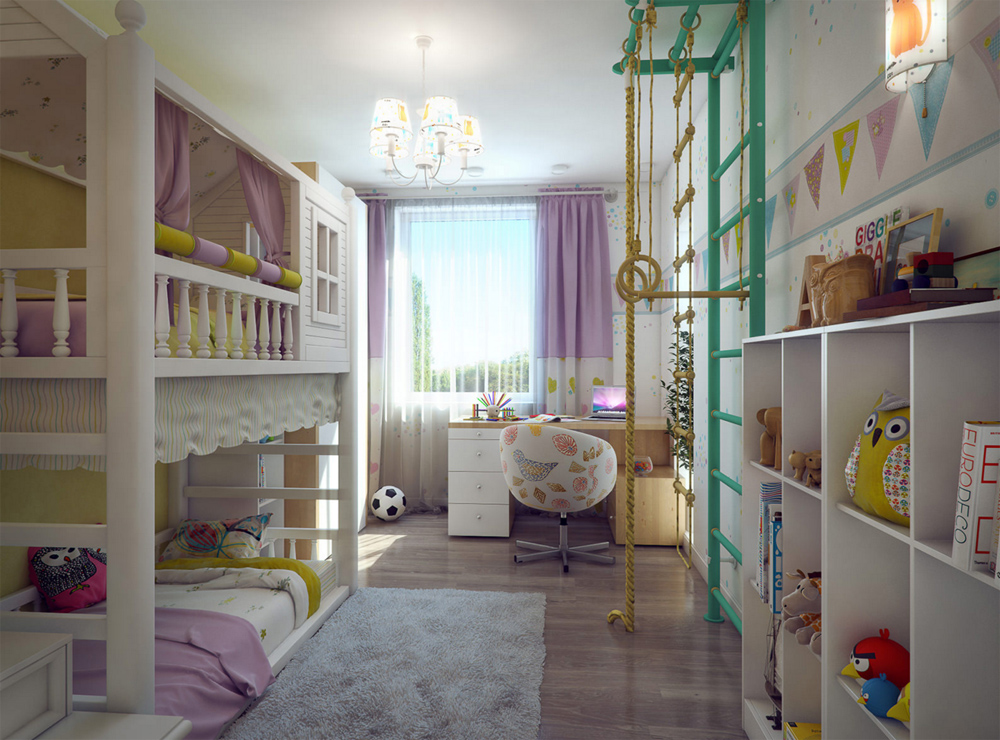 Дизайн интерьера узкой детской комнаты для двух девочек