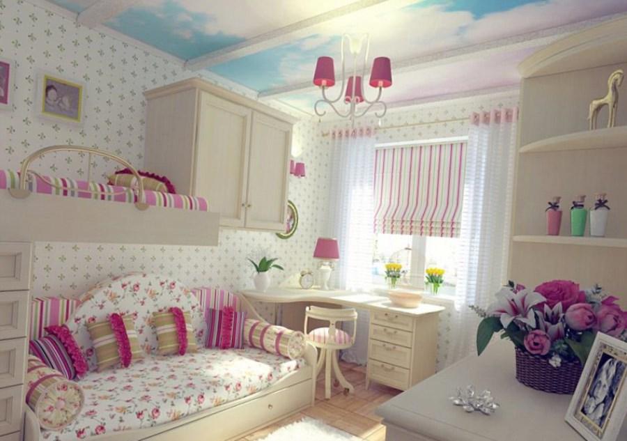Дизайн детской комнаты для девочек в пастельных тонах